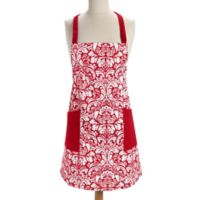 Design Imports Damask Apron in Red