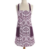 Design Imports Damask Apron in Eggplant
