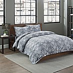 Garment Washed Medallion Printed King Duvet Cover Set in Grey