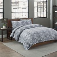 Garment Washed Printed Twin Duvet Cover Set in Grey Medallion