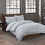 Garment Washed Solid Full/Queen Duvet Cover Set in Seaglass Medallion