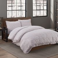 Garment Washed Printed King Duvet Cover Set in Taupe Dot