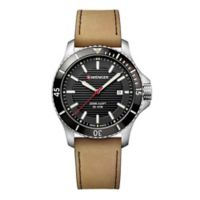 Wenger Seaforce Men's 43mm Watch in Stainless Steel with Brown Leather Strap