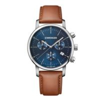 Wenger Urban Classic Men's 42mm Watch in Stainless Steel w/ Blue Dial and Leather Strap