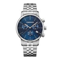 Wenger Urban Classic Chrono Large Men's 42mm Watch in Stainless Steel with Blue Dial