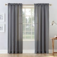 Natural Stripe 108-Inch Rod Pocket Sheer Window Curtain Panel in Grey