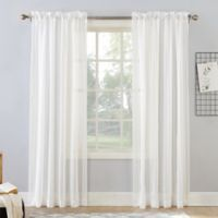 Natural Stripe 95-Inch Rod Pocket Sheer Window Curtain Panel in Linen
