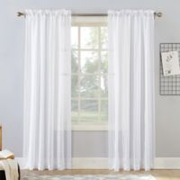 Natural Stripe 108-Inch Rod Pocket Sheer Window Curtain Panel in White