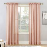 Natural Stripe 108-Inch Rod Pocket Sheer Window Curtain Panel in Blush
