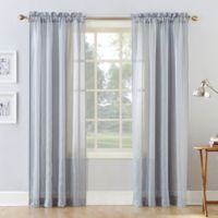 Natural Stripe 108-Inch Rod Pocket Sheer Window Curtain Panel in Dusty Blue