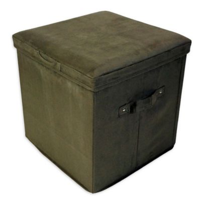 Merveilleux Casual Home Microsuede Seatpad Square Storage Ottoman In Sage