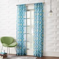 No.918 Marquez Ikat 95-Inch Rod Pocket Window curtain Panel in Marine