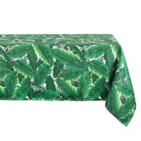 Design Imports 60-Inch x 84-Inch Oval Banana Leaf Umbrella Tablecloth in Green