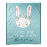 "Designs Direct ""The Cutest Cottontails"" Fleece Blanket in Teal"