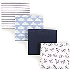 Hudson Baby® Airplanes Flannel 4-Pack Receiving Blankets in Blue