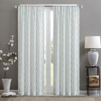 Madison Park Irina Diamond Sheer 84-Inch Rod Pocket Window Curtain Panel in White/ Aqua