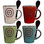 Home Essentials & Beyond Reactive Sun Coffee Mugs with Spoons (Set of 4)