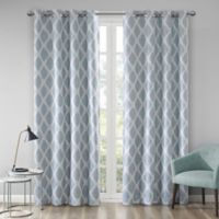 Blakesly Printed Ikat 95-Inch Grommet Top Room Darkening Window Curtain Panel in Aqua