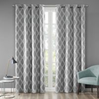 Blakesly Printed Ikat 63-Inch Grommet Top Room Darkening Window Curtain Panel in Grey