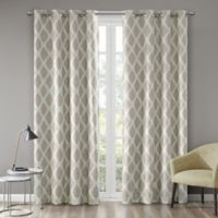 Blakesly Printed Ikat 95-Inch Grommet Top Room Darkening Window Curtain Panel in Taupe