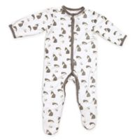 Kyte BABY Size 12-18M Woodland Snap-Front Footie Grey/White