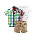 carter's® Newborn 3-Piece Shirt and Khaki Short Set