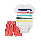 carter's® Size 3M 2-Piece Ivory Stripe Shirt and Red Short Set