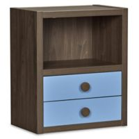Sierra Ridge Terra Modular Bookcase with Drawers in Walnut/Blue