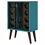 Manhattan Comfort Lund 8-Bottle Wine Cabinet in Rustic Brown/Aqua