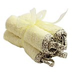 Frenchie Mini Couture Washcloth with Swirl Print Binding in Yellow (4-Pack)