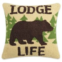 """Lodge Life"" Square Throw Pillow in Brown"