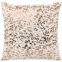 TOV Furniture Leather Speckled Square Throw Pillow in Cream
