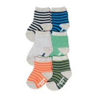 OshKosh B'gosh® Size 2-4T 6-Pack Striped Crew Socks in Orange/Blue/Green