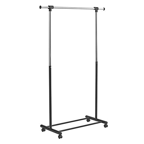 Portable and expandable garment rack in black chrome bed bath