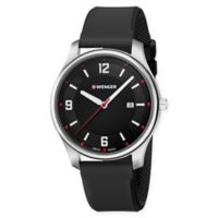 Wenger City Active Men's Watch with Large Black Dial and Black Silicone Strap
