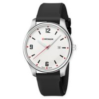Wenger City Active Men's Watch with Large White Dial and Black Silicone Strap