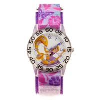 Disney® Children's 32mm Tangled Floral Time Teacher Watch in Purple