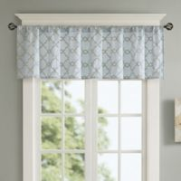 Madison Park Rein Embroidered Rod Pocket Window Valance in Blue