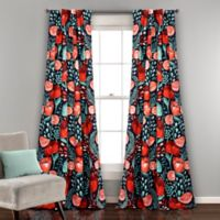 Poppy Garden 84-Inch Room Darkening Rod Pocket/Back Tap Window Curtain Panel Pair in Navy