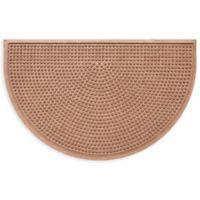 """Weather Guard™ Squares 24"""" x 39"""" Half-Round Door Mat in Medium Brown"""