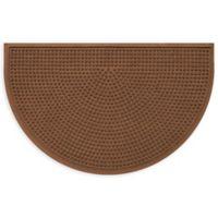 """Weather Guard™ Squares 24"""" x 39"""" Half-Round Door Mat in Dark Brown"""