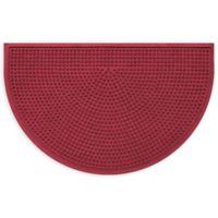 """Weather Guard™ Squares 24"""" x 39"""" Half-Round Door Mat in Red/Black"""