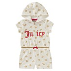 Juicy Couture® Size 6-9M Glitter Crown Hooded Romper in White/Gold