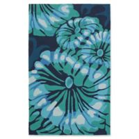 Suyra Rain Modern 3' x 5' Area Rug in Emerald/Navy