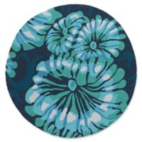 Suyra Rain Modern 8' Round Indoor/Outdoor Area Rug in Emerald/Navy