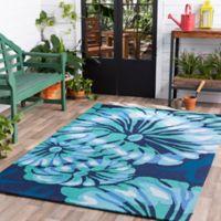 Suyra Rain Modern 9' x 12' Indoor/Outdoor Area Rug in Emerald/Navy