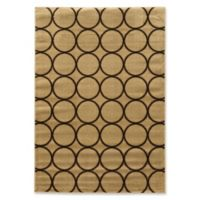 Linon Home Décor Ellegance Multi Circle Rug in Beige