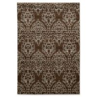 Linon Home Décor Elegance 5' x 7'3 Damask Area Rug in Brown