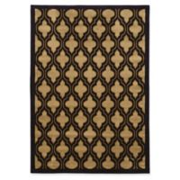Linon Home Ellegance 5' x 7'3 Trellis Area Rug in Navy/Cream