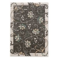 Linon Home Ellegance 2' x 3' Flowers Accent Rug in Light Grey